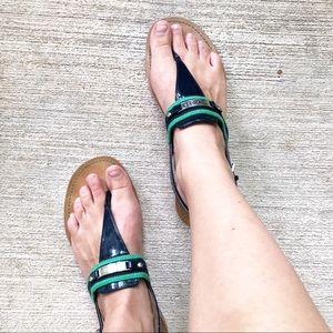 Tommy Hilfiger Navy & Green T-Strap Sandals 8.5